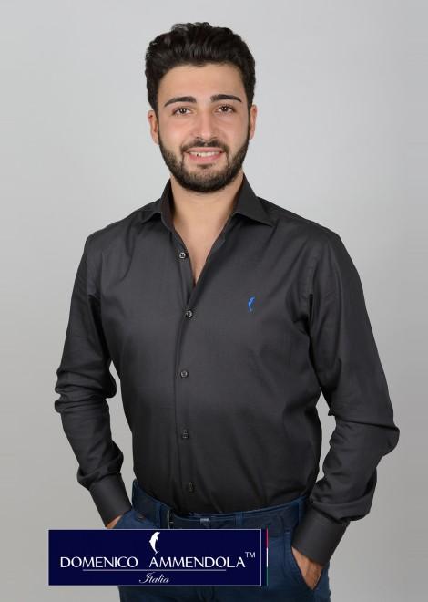 Camicia da uomo collo mezzo francese polso tondo colore grigio intenso