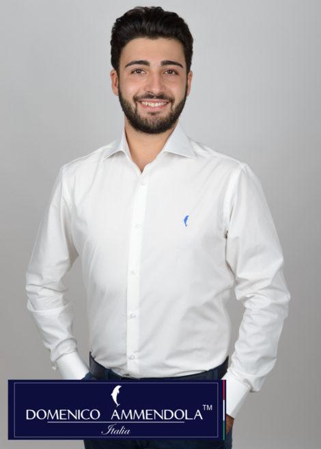 Camicia da uomo bianca per cerimonie collo mezzo francese e polso tondo